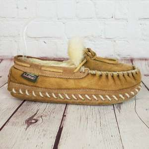 LL Bean Wicked Good Camp Lined Moccasin Slippers